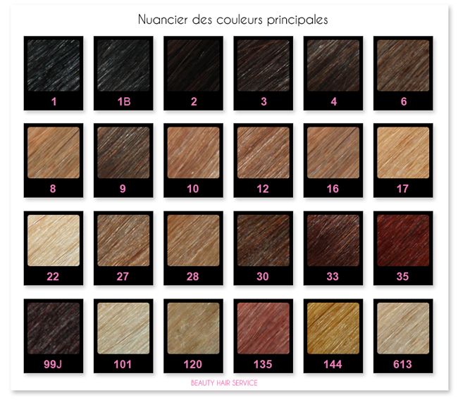 Code couleur extension cheveux